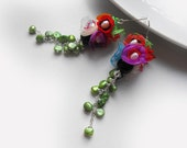 Organza earrings,long flower earrings,multicolor earrings,with pearls,rose,green,violet,orange,white,red,blue,wedding,prom,gift