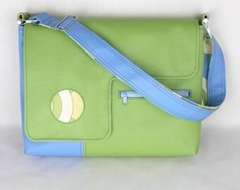 Vegan Laptop Bag Artichoke Green and Sky Blue, vinyl laptop bag