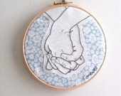 Embroidery hoop wall art - Wedding keepsake. Couples/Love. Anniversary.