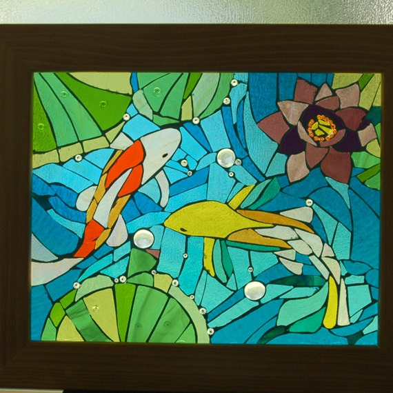 Koi and lotus pond stained glass fish water lilly natural for Koi pond glass