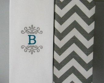 Monogram Kitchen Towels or Hand Towels in Grey Chevron | Housewarming Gift | Hostess Gift | Gifts for Her | Wedding