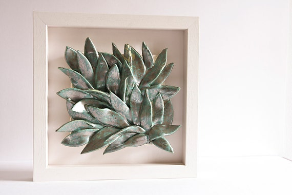 Silver Leaves Wall Decor : Leaves ceramic wall art hanging home decor