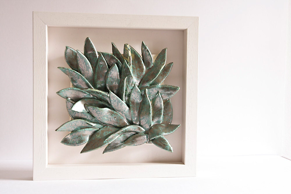 Wall Art Of Leaves : Leaves ceramic wall art hanging home decor