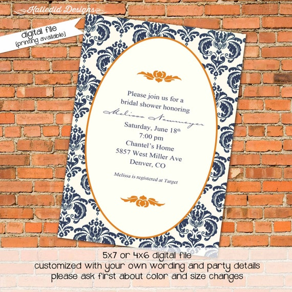 bridal shower invitations or wedding invite, orange and navy damask, digital, printable file (item 313)