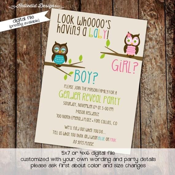 Gender reveal invitation owl baby shower invitation owl first birthday baby sprinkle diaper shower bash (item 1433) shabby chic invitations