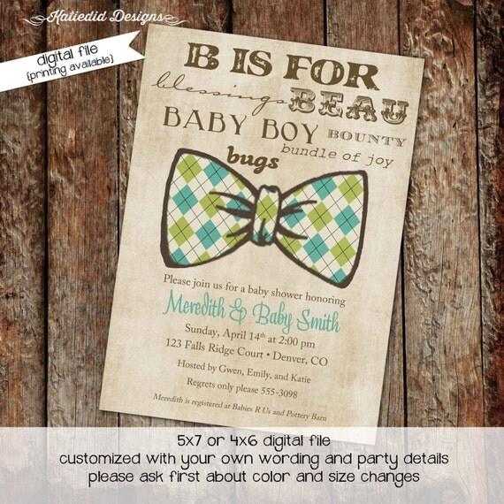 bow tie baby shower invitation little gentleman baby boy shower baptism christening couples shower bash (item 1275) shabby chic invitations