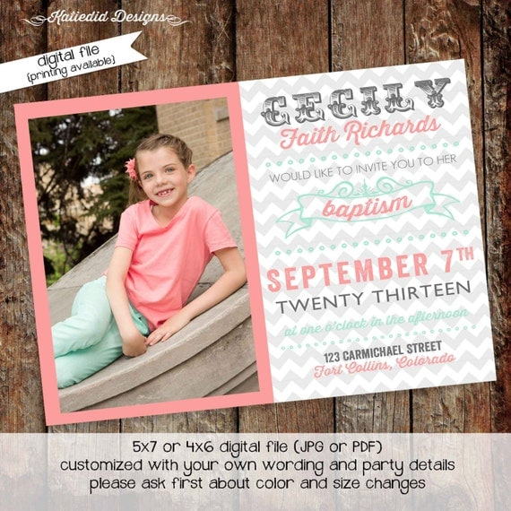 LDS baptism invitation baby blessing birthday sip and see birth announcement christening chevron coral (item 701) shabby chic invitations