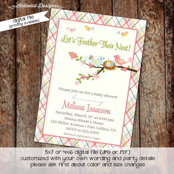 baby girl shower invitation sprinkle sip and see plaid feather their nest bird nest high tea diaper coed (item 1434) shabby chic invitations