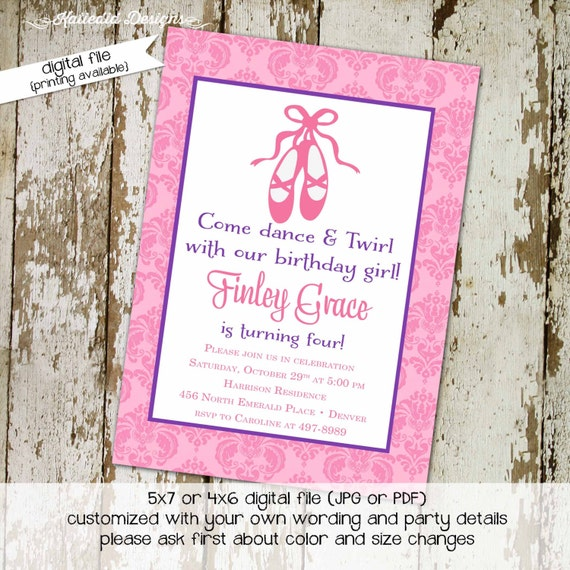 ballerina invitation little girl 1st birthday ballet shoes pink purple baby shower invite shabby chic it's a girl co-ed 236 Katiedid Designs