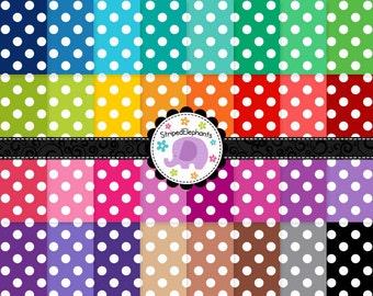 Large Polka Dot Digital Paper - Instant Download - Commercial Use