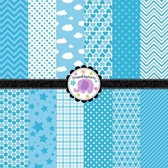 Sky Blue Digital Paper Pack, Blue Digital Scrapbook Paper, Blue Digital Backgrounds, Instant Download, Commercial Use