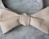 Bow Tie in Tan and Cream Tiny Gingham for men or boys- Self tying, pre-tied adjustable strap or clip on - Groomsmen attire - wedding