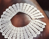 Beautiful Hand Crocheted Round Shaped Collar for any Dress or Blouse in a lovely Ecru 100% Cotton Thread.