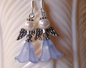 Angel Earrings 5-Petal Lt Blue Flower Acrylic Bead with Silver Faceted bead, 4 mm White Glass Pearl - Silver Wings Gift