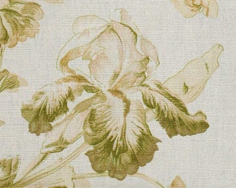 "Mulberry of England ""Wild Irises"" Acid/Chartreuse Green Floral Toile Decorator Fabric in Linen-Cotton - 2 Yards x 54"" Wide"