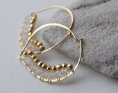 Large Gold Hoops, Petal Hoops, Gold Hoop Earrings, Vermeil, Gemstone Earrings, AAA Mystic Gold Pyrite, Crystal Quartz, Gold Fill Earrings