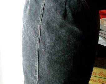 Black Jean Pencil Skirt High Waisted Chic Eighties Amazing Small