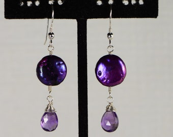 Puple Pearl Earrings Amethyst earrings