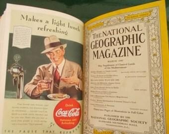 SALE--Six Vintage 1940 National Geographic Magazines- Hardcover Volume 77 - January - June-6 Magazines