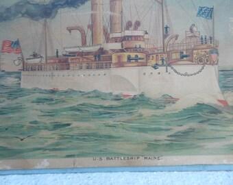 "SALE-Vintage Lithograph of U. S. Battleship ""Maine"""