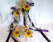 Sunflower wedding Cake Service Set Bride and Groom Toasting Flutes 4 piece sunflower wedding set