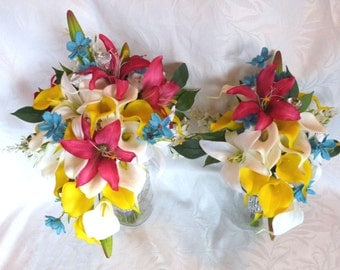 Cascading calla lily bridal bouquet set colorful tropical destination wedding flowers