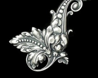 Art Nouveau Large Fancy Right Leaf Scroll in Silver Plated Brass Stamping Qty 1 Made in the USA