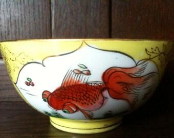 Vintage Chinese Yellow Goldfish Rice Bowl circa 1950's / English Shop