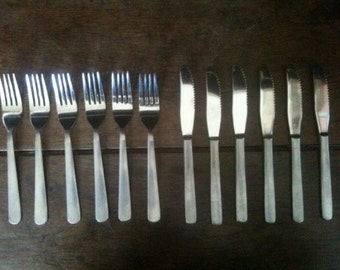 Vintage Foreign metal forks and knifes cutlery circa 1970's / English Shop