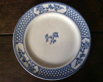 Vintage French blue and white flower cage dinner lunch ceramic plate circa 1920's / English Shop