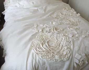 Unique handmade Dahlia duvet cover, Fabric Flower Applique Bohemian bedding duvet cover with pillow cases and round pillow Linen Nurdanceyiz