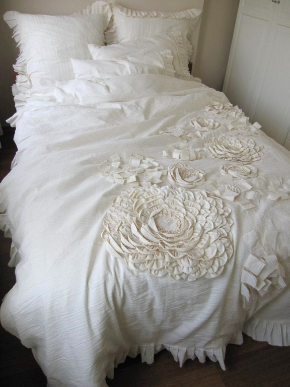 dahlia flower appliqued bohemian bedding shabby chic duvet. Black Bedroom Furniture Sets. Home Design Ideas