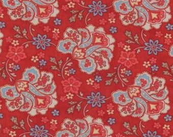 "1 Yard 7.5"" of Grant Park Red Floral Jacobean by Minick & Simpson for Moda"
