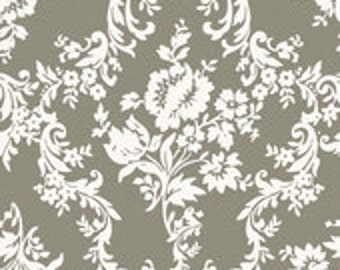 1 Yard of HOME DEC FABRIC Canvas Duck Lost & Found 2 Gray Taupe Damask by  My Minds Eye for Riley Blake