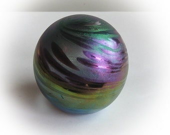 Iridescent Swirl of Green, Blue, Violet and Purple Metalic Colored Paperweight