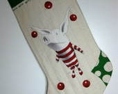 Christmas Stocking Quilted Olivia in Striped PJs Pajamas CIJ