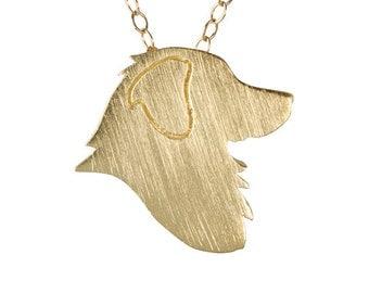 Australian Shepherd necklace, Australian Shepherd charm - Solid 14k Yellow Gold dog necklace, dog charm pet memorial gift