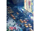 Night Riders, Cabs,  Traffic, New York City, City Lights, Night In The Big Apple, Contemporary, The Streets Of Broadway , FREE SHIPPING USA