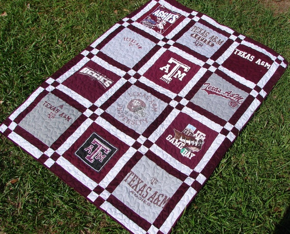 T Shirt Quilt Blanket Throw Made From Texas A Amp M Aggies