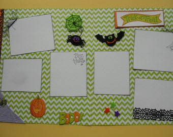 SALE  Halloween premade scrapbook album pages 12 by 12