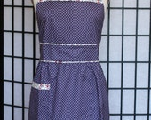 Retro Apron - Purple Fitted Waist With Gathers - style MORI - FULLY LINED