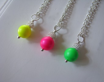 Neon Bridesmaid Jewelry Set Hot Pink Green Yellow Neon Necklaces also available neon bracelets and earrings