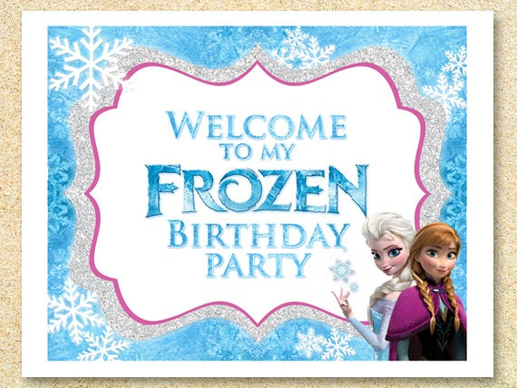 Frozen Printable WELCOME party sign Instant Download by MadPhotoge