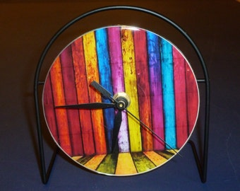 Colorful  Recycled CD Clock Art