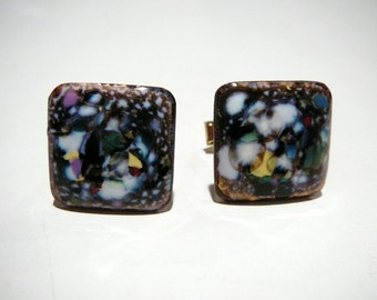 Vintage Mid Century Modern Copper Enamel Cufflinks Cuff links Square One of a Kind