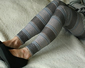 Grey striped detailed lace leggings