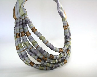 Minimalist necklace brown, layered necklace, statement textile necklace - Handmade jewelry limited edition ready to ship