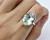 Art Deco 1920s inspired large oval ring with clear sparking swarovksi crystal