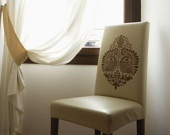 Indian Bird Motif Wall and Furniture Stencil for Allover Wallpaper Look