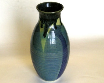 Tall Earth Rainbow Vase, Blue, Ivory, Black, Brown, White, Hand Made, Porcelain, Born of Fire, Flower, Feather, Water Tight, Graceful